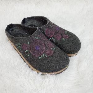 Sofft Grey Wool Lotus Floral Mules Clogs